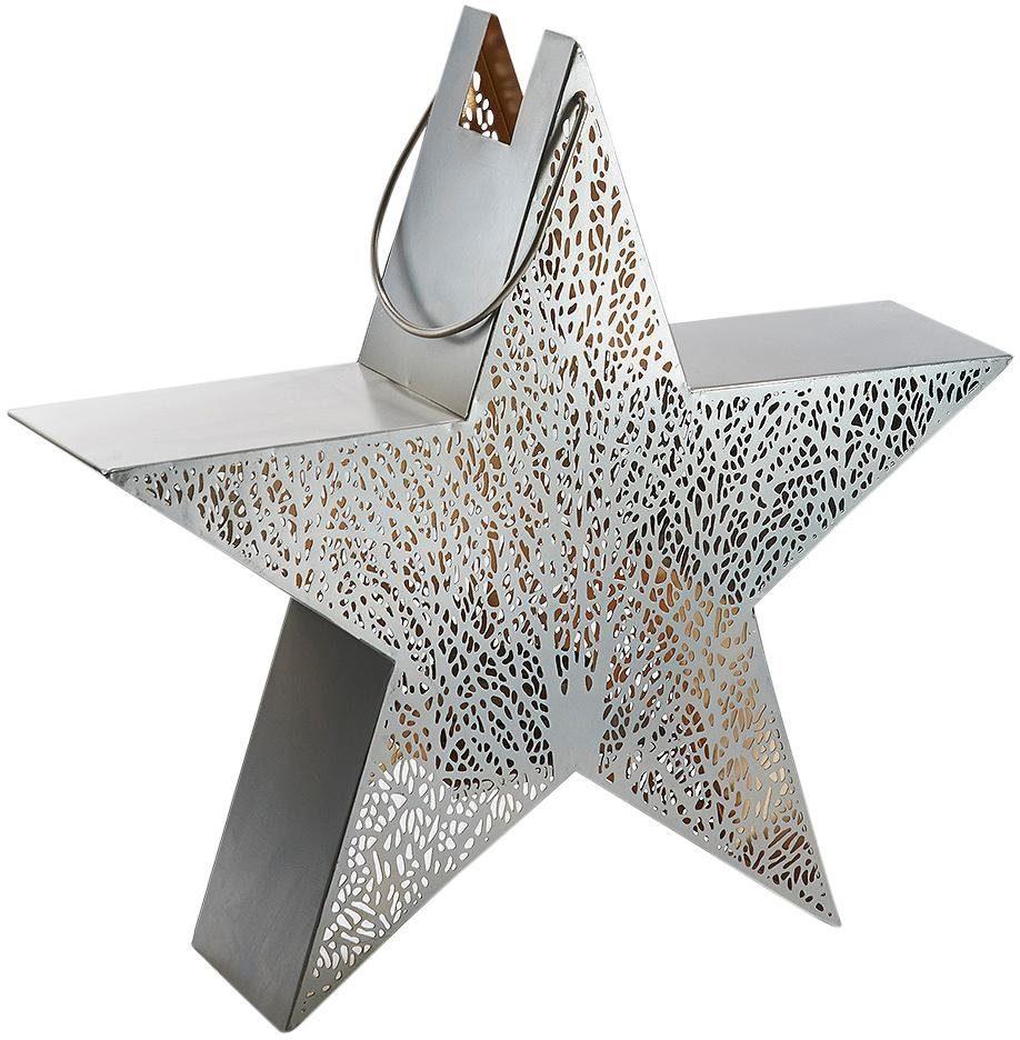 Home affaire Laterne »Stern« mit filigranem Blattmuster, Metall, silber/gold L