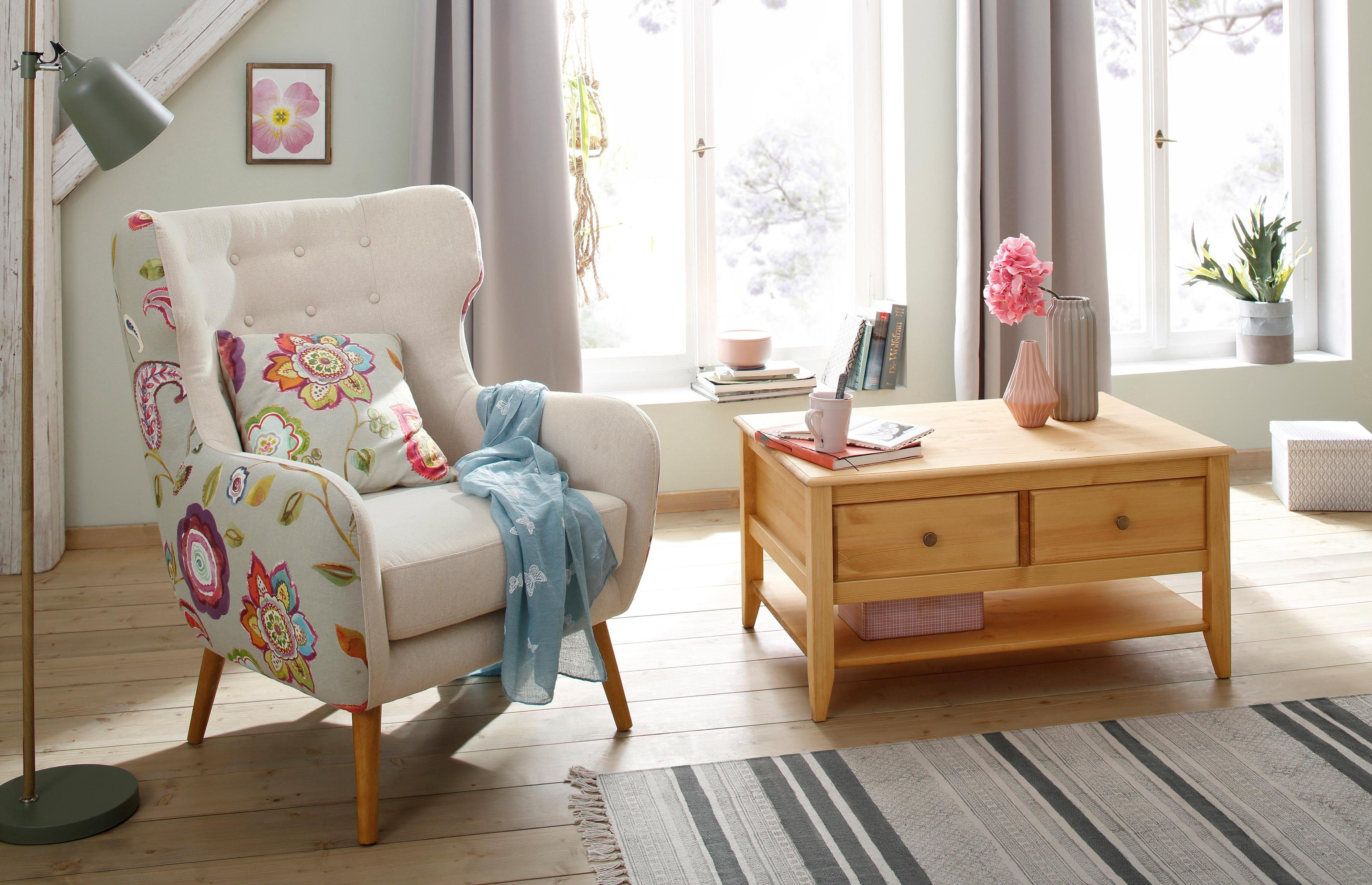 Home affaire Ohrensessel »Missouri«, zweifarbig mit tollem Blumenmuster, bequeme Sitzpolsterung, Sitzhöhe 48 cm
