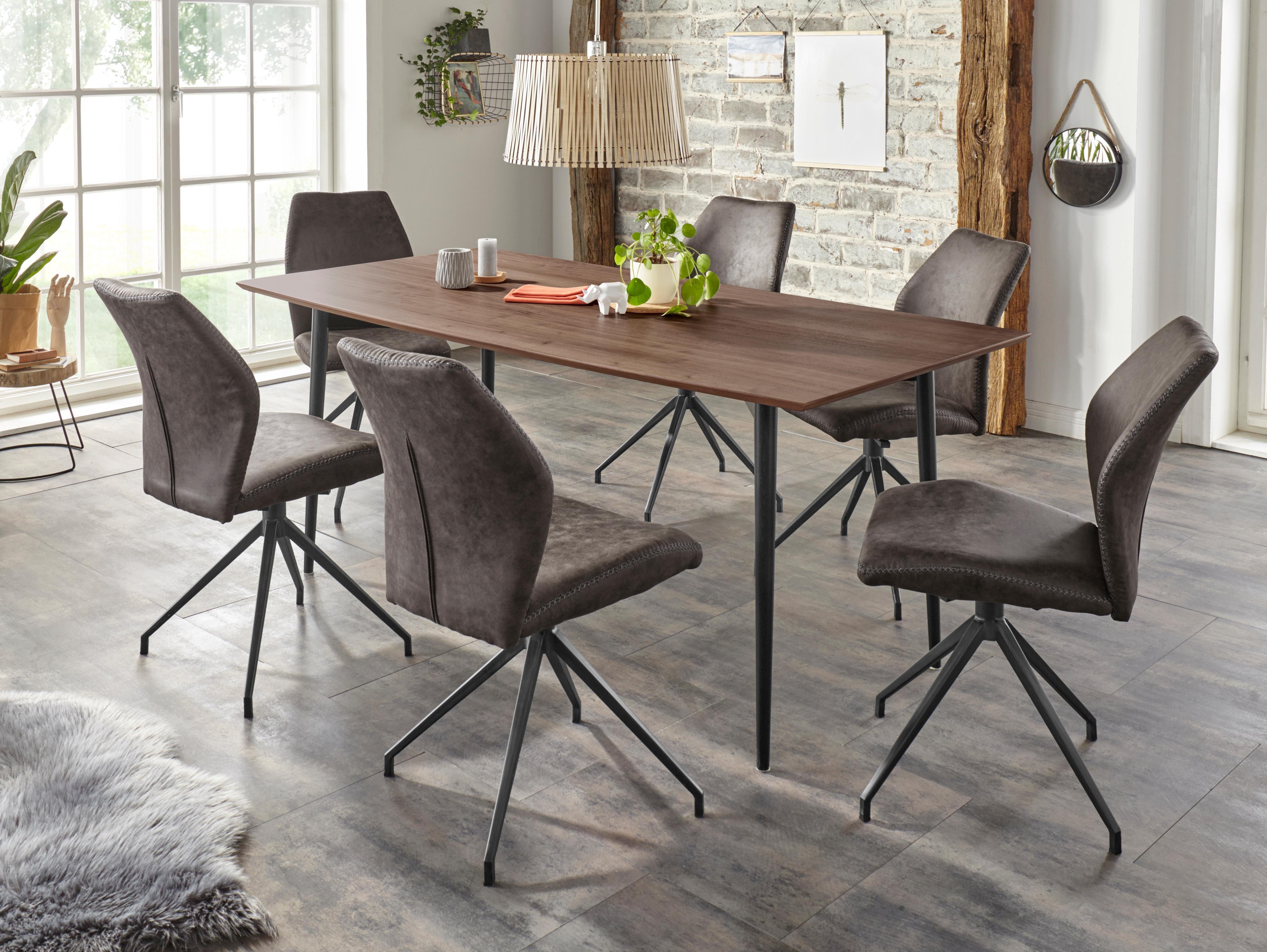 Home affaire Esstisch »Nerri«, mit schönem schwarzem Metallgestell und dunkler walnussfarbenen Tischplatte, Breite 180 cm