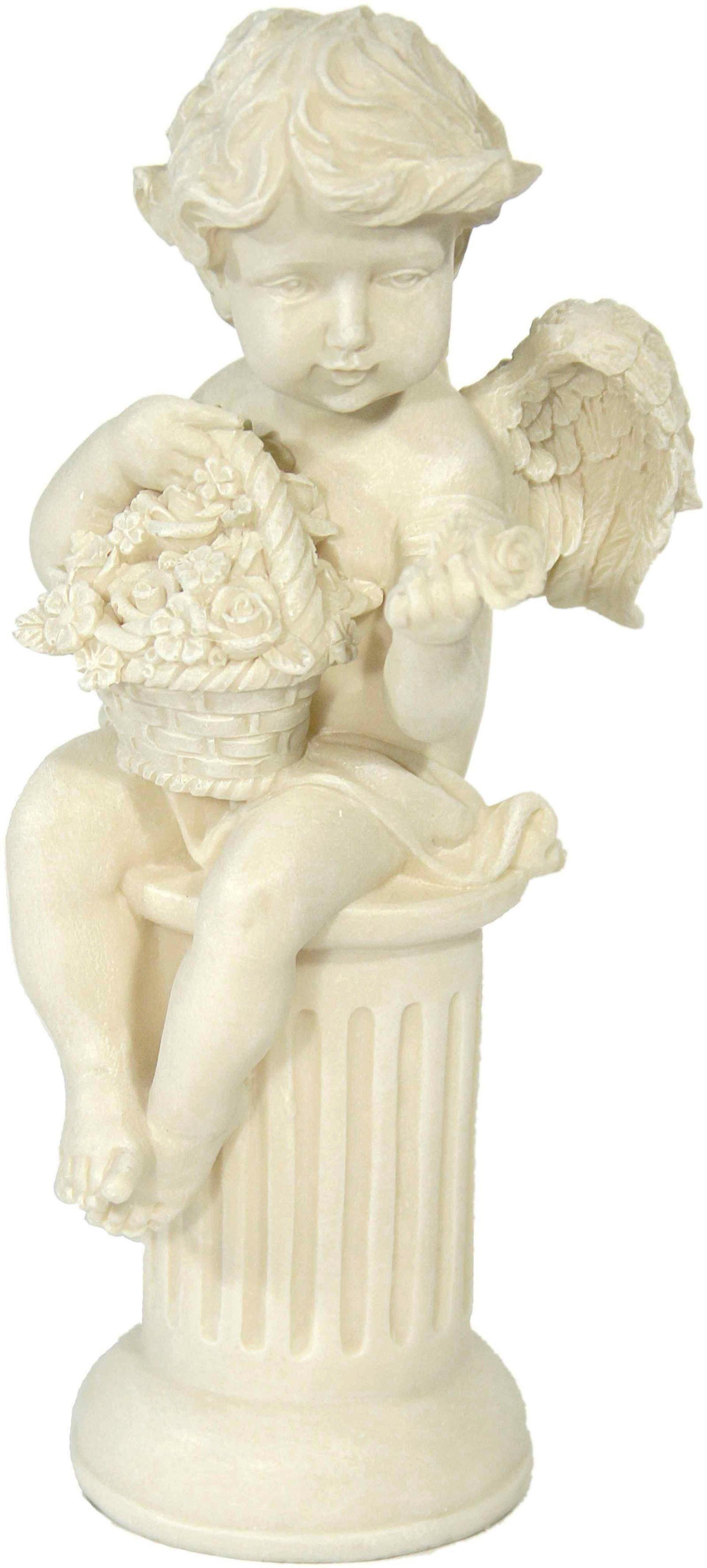 Home affaire Dekofigur »Engel auf Säule sitzend mit Rose«