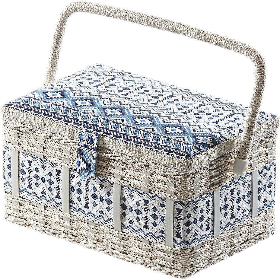 Home affaire Nähkästchen, eckig, aus Kunststoff und Textil mit blau weißem Muster | Dekoration > Aufbewahrung und Ordnung > Kästchen | Home affaire