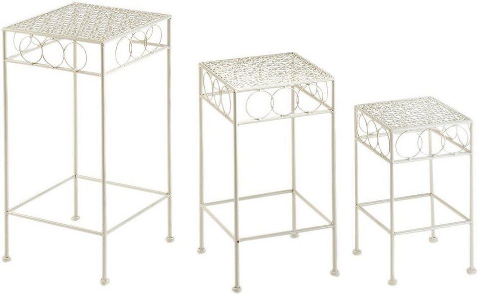 home affaire pflanzenst nder eckig aus metall antique cream 3er set online kaufen otto. Black Bedroom Furniture Sets. Home Design Ideas