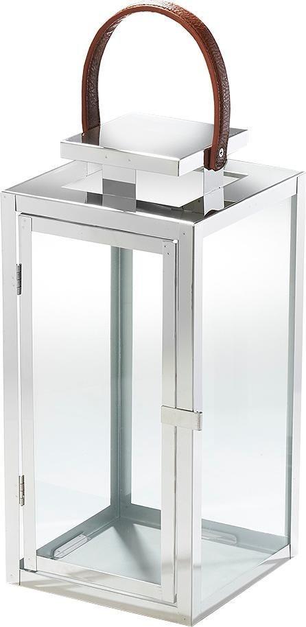 Laterne »Lyon« aus Glas und Edelstahl mit einem Henkelgriff