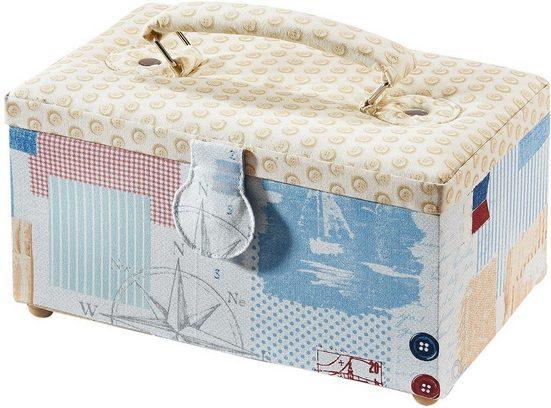 Home affaire Nähkästchen, rechteckig, Textil mit Knopfmuster und Griff aus Stoff