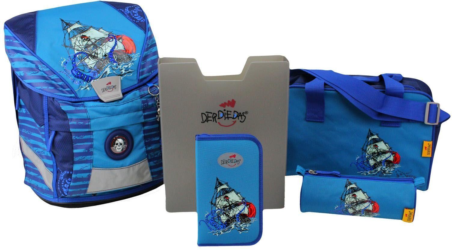 DerDieDas Schulrucksack Set (5-tlg.), »ErgoFlex Vario - Blue Octopus«
