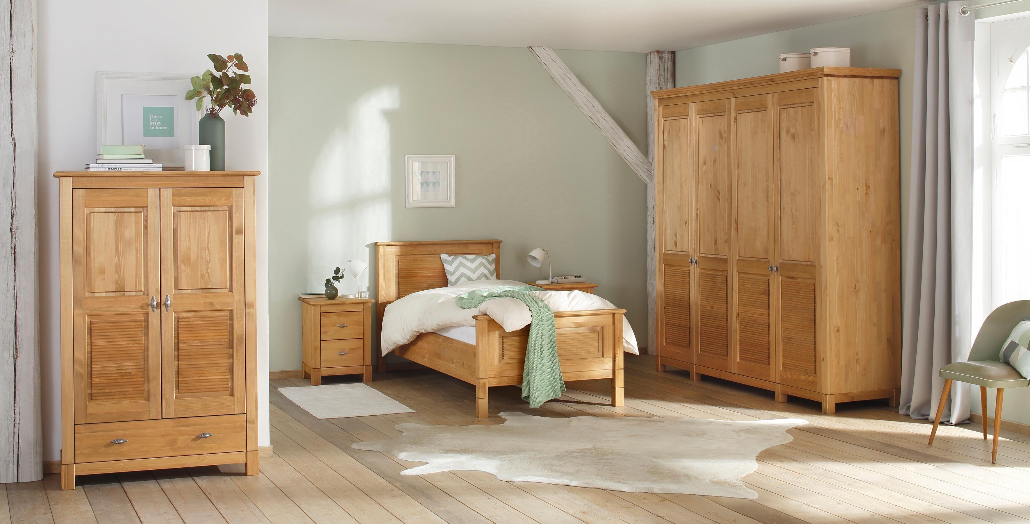 Home affaire Kleiderschrank »Rauna« aus massiver Kiefer | Schlafzimmer > Kleiderschränke > Drehtürenschränke | Glanz | Home affaire