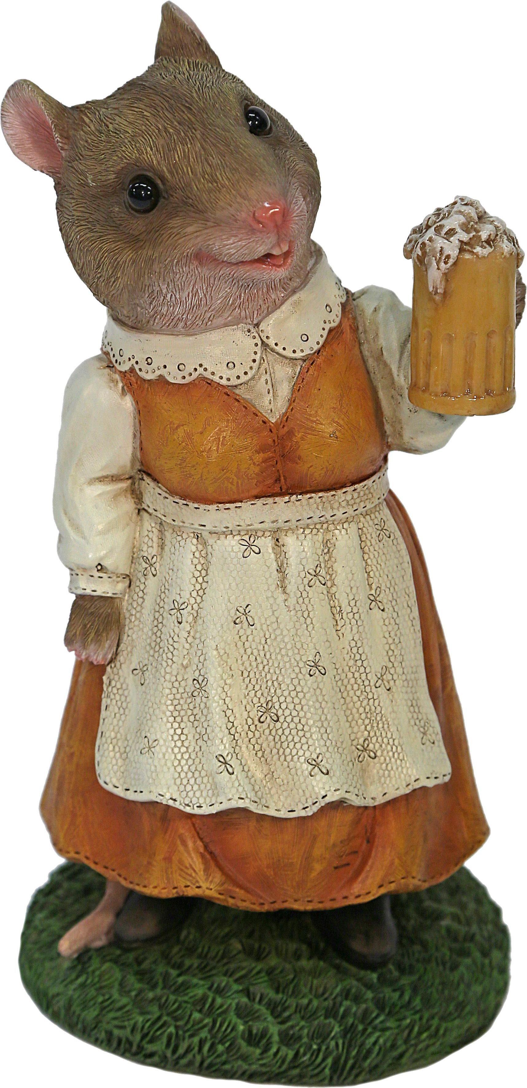 Home affaire Dekofigur »Frau Maus im Kleid mit Bierglas«