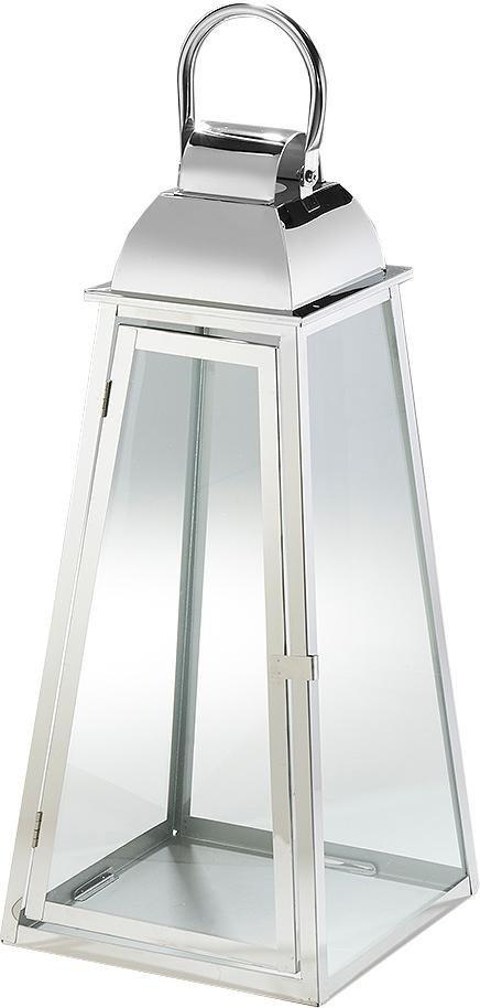 Laterne »Paris« aus Glas und Edelstahl mit einem Henkelgriff