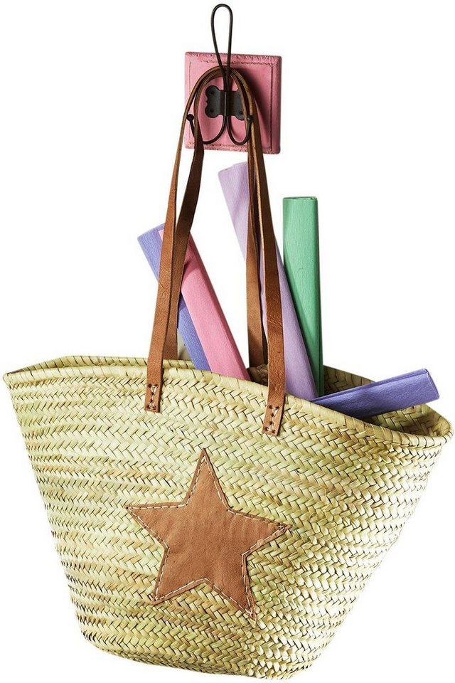 47fe8b316d4cc Home affaire Ibizatasche aus Palmblatt mit Echt-Lederhenkeln und Sterndeko  aus Leder