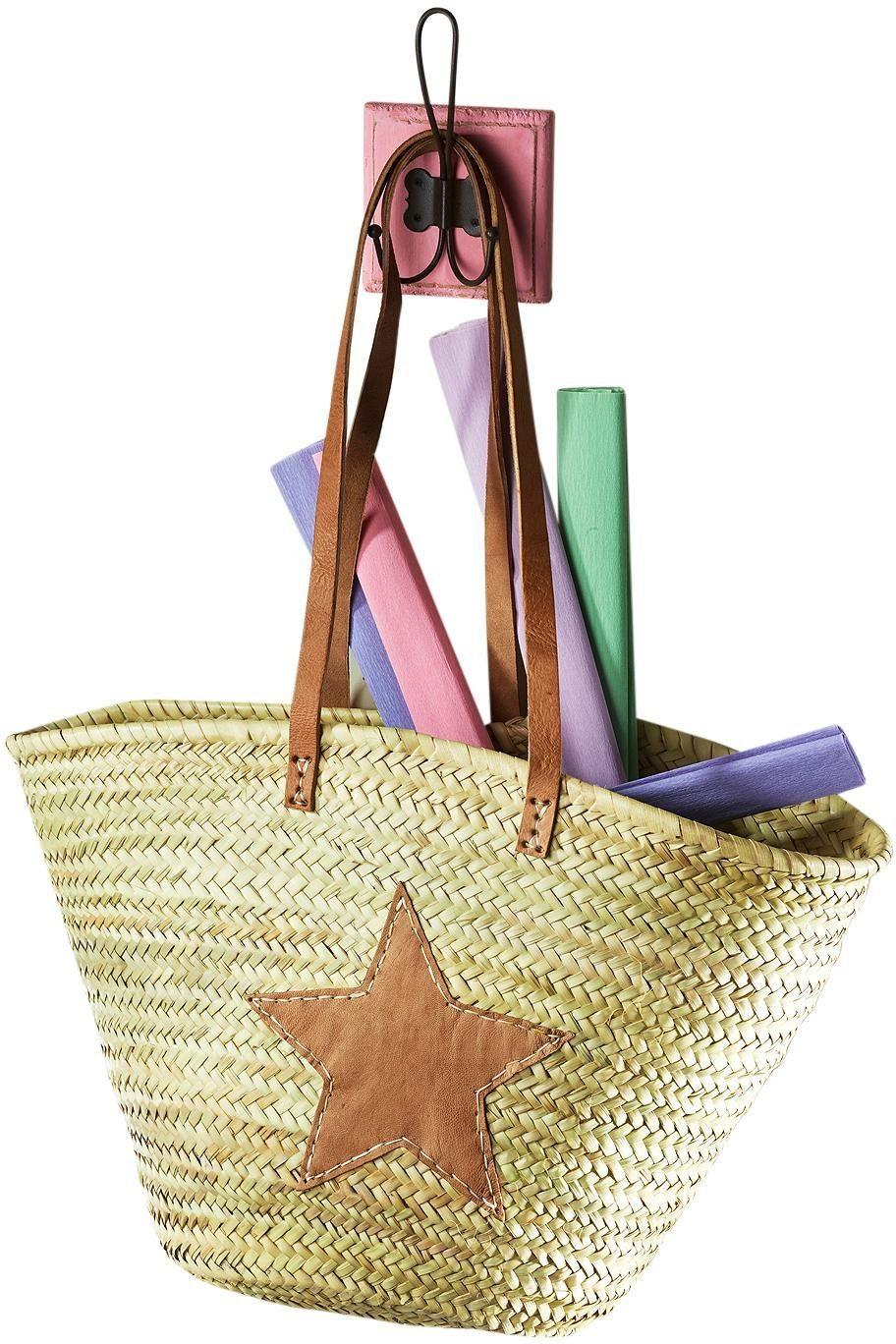 Home affaire Ibizatasche aus Palmblatt mit Echt-Lederhenkeln und Sterndeko aus Leder