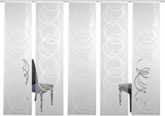 Schiebegardine »5er Set ADLANES«, HOME WOHNIDEEN, Paneelwagen (5 Stück), Voile oder Dekostoff
