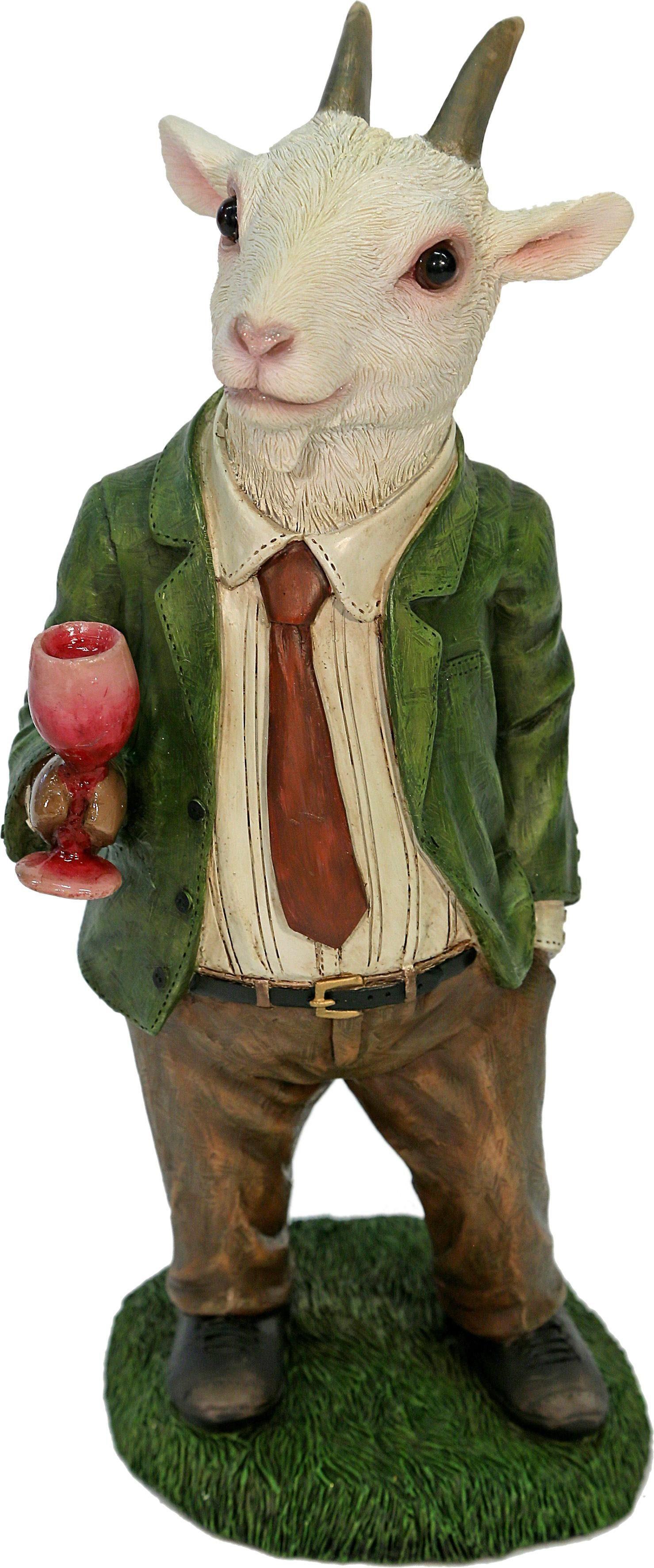 Home affaire Dekofigur »Herr Ziege im Anzug trinkt Wein«