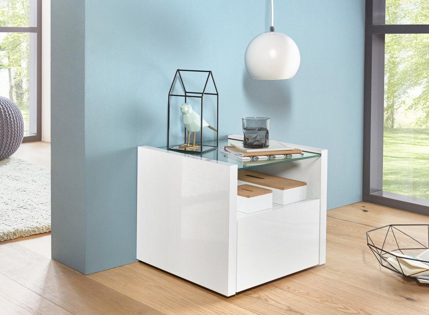 Tecnos Nachttisch, Höhe 36, 5 cm   Schlafzimmer > Nachttische   Weiß   Glas   Tecnos
