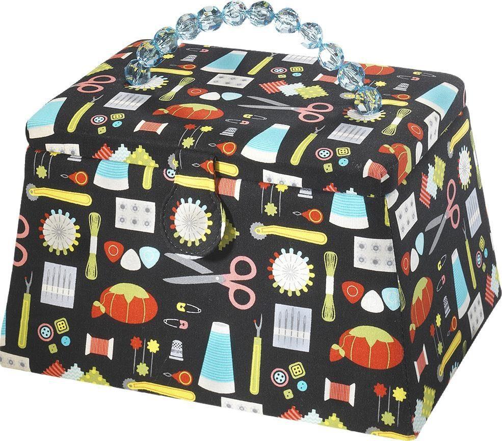 Home affaire Nähkorb, Trapezform, Textil Multicolor schwarz mit blauen Kunststoffperlengriff