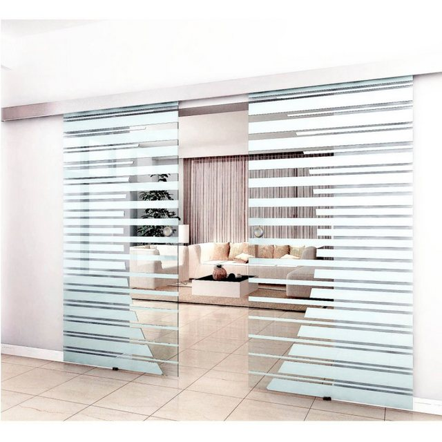 Home Deluxe Doppelglasschiebetür mit Streifendesign und Muschelgriff, 2x90cm