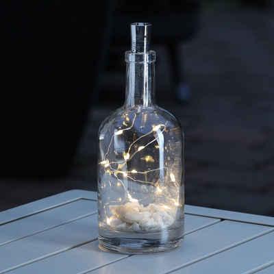 MARELIDA LED-Lichterkette »LED Lichterkette KORKEN Flaschenverschluss 15 warmweiße LED 70cm Timer silber«, 15-flammig