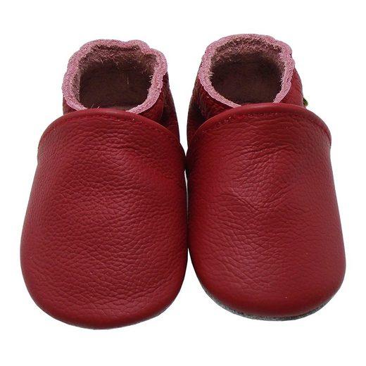 Yalion »Weiche Leder Lauflernschuhe Hausschuhe Lederpuschen Rot 100% Leder« Krabbelschuh