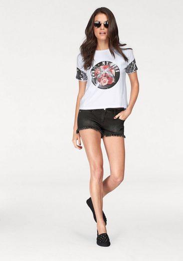 Aniston T-Shirt, mit Frontdruck und Pailletten