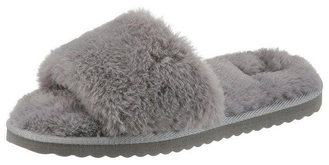 Damen CITY WALK Plüsch Hausschuhe aus kuscheligem Textil grau | 06951986976893
