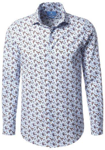 PIERRE CARDIN Hemd mit Schmetterlingsprint, Kentkragen - Slim Fit