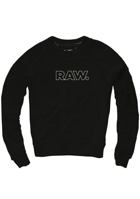 Damen G-Star RAW Sweatshirt RC triffey cropped r sw wmn l s mit Frontdruck schwarz | 08719369000782