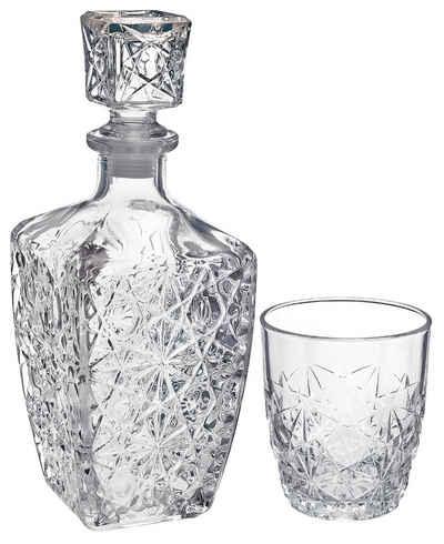 van Well Whiskyglas »Dedalo«, Glas, 6 Gläser, 1 Karaffe