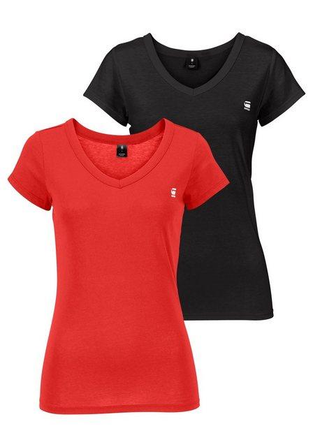Damen G-Star RAW V-Shirt Logo V-neck (Packung 2er-Pack) rot | 08719369299230