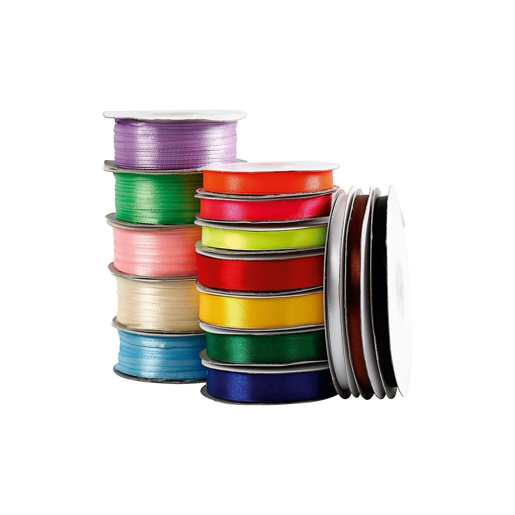 Satinband, sortierte Farben, 15 Rollen