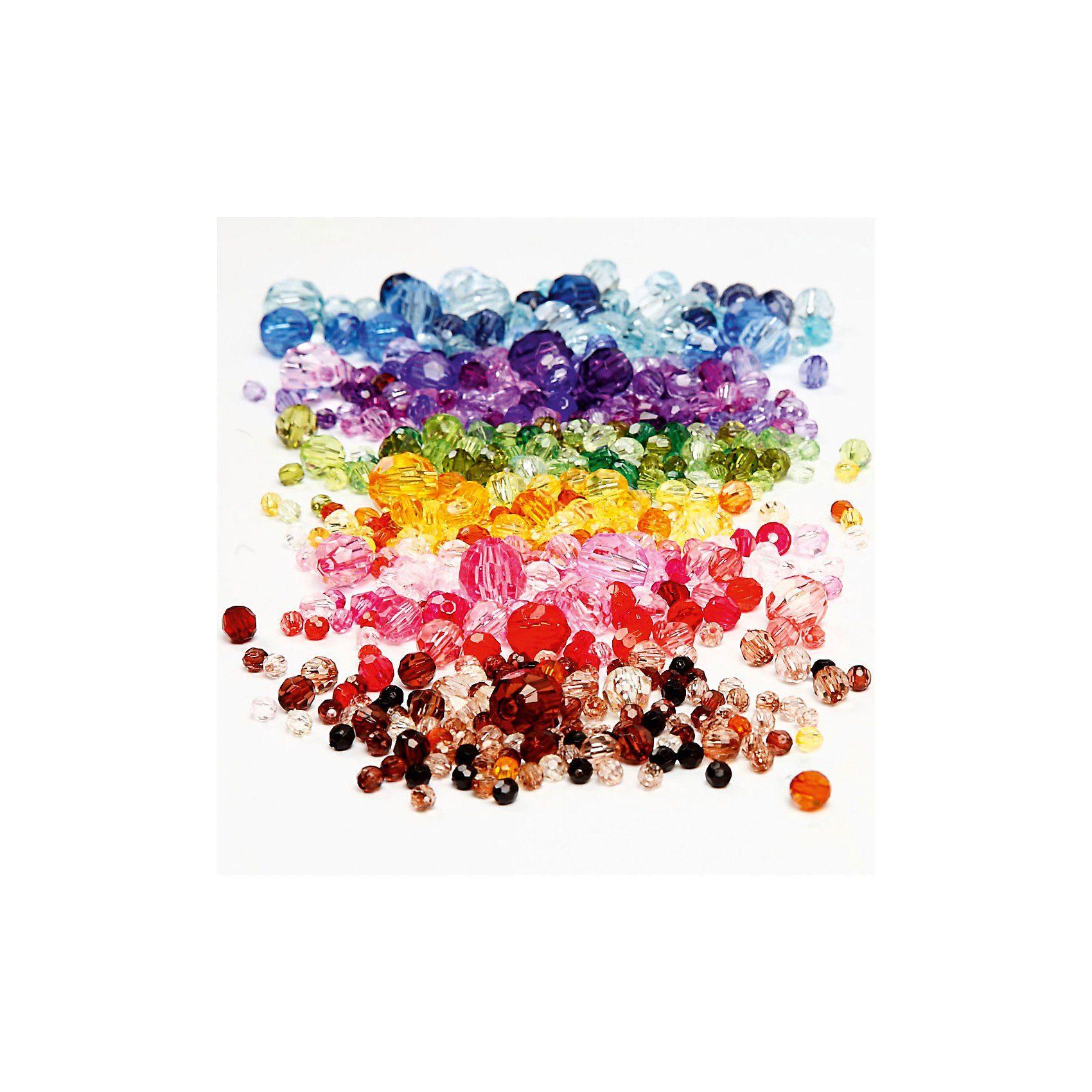 Facettenperlen-Mix, D: 4-12 mm, Lochgröße 1-2,5 mm, 7x250g