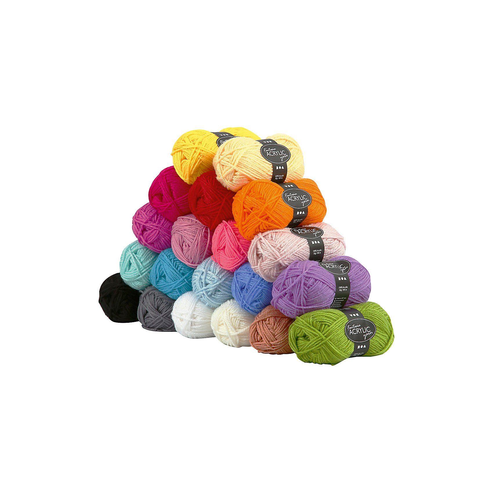 Fantasia Acryl-Wolle, L: 80 m, Sortierte Farben, 20x50g