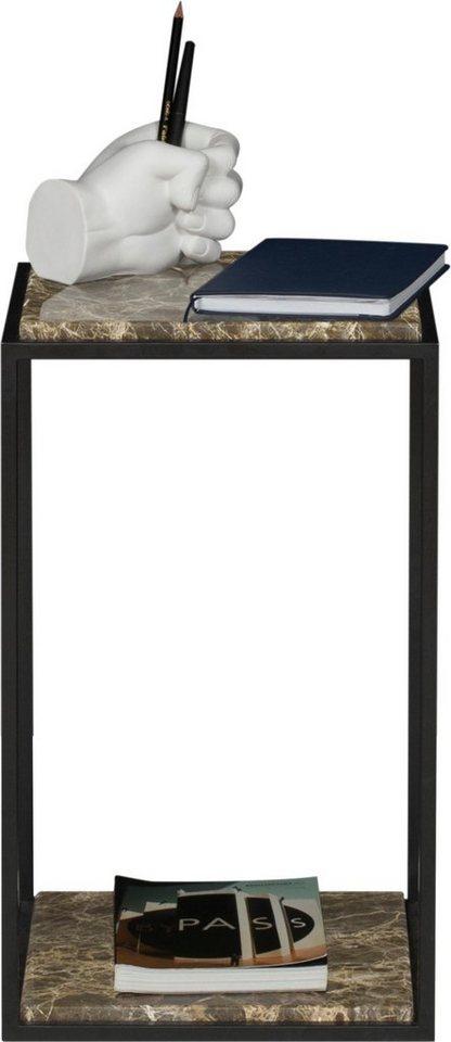 TemaHome Nachttisch »Forrest« mit 2 Marquina Marmorplatten & Metallgestell schwarz, Breite 30 cm   Schlafzimmer > Nachttische   Braun   TemaHome