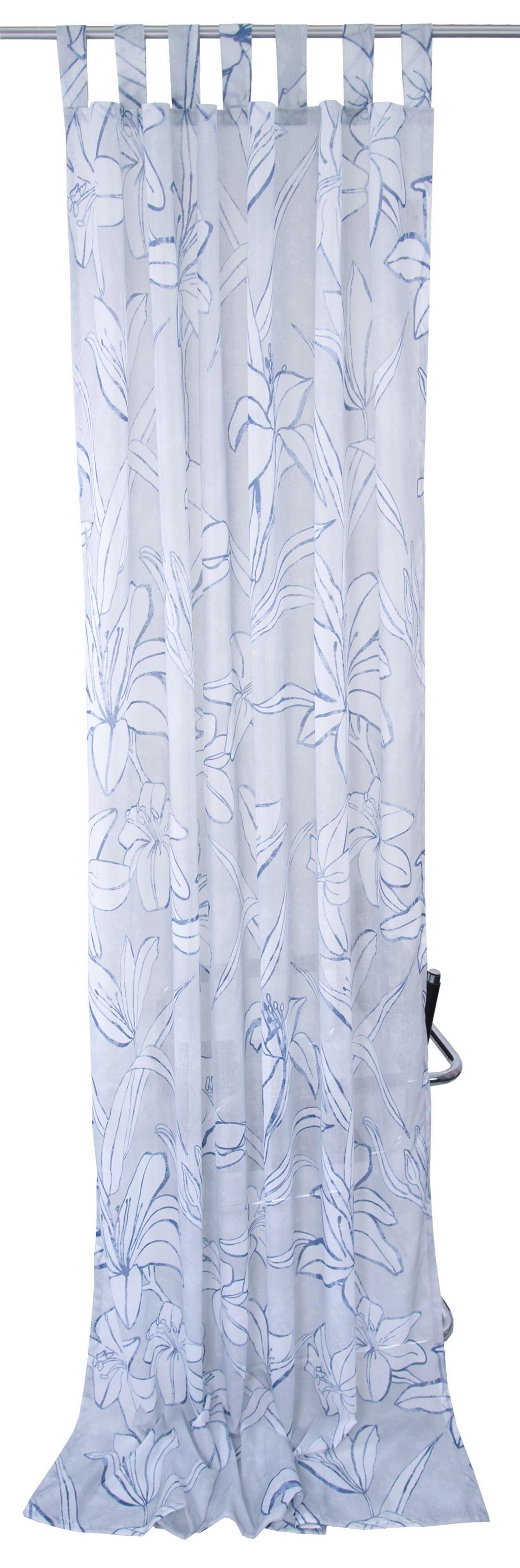 Vorhang »BLUE FLOWERS«, Tom Tailor, Schlaufen (1 Stück)