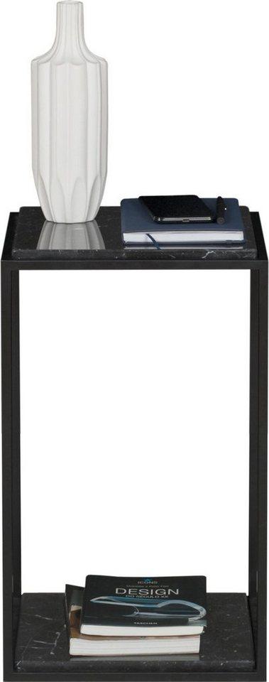 TemaHome Nachttisch »Forrest« mit 2 Marquina Marmorplatten & Metallgestell schwarz, Breite 30 cm   Schlafzimmer > Nachttische   Schwarz   TemaHome