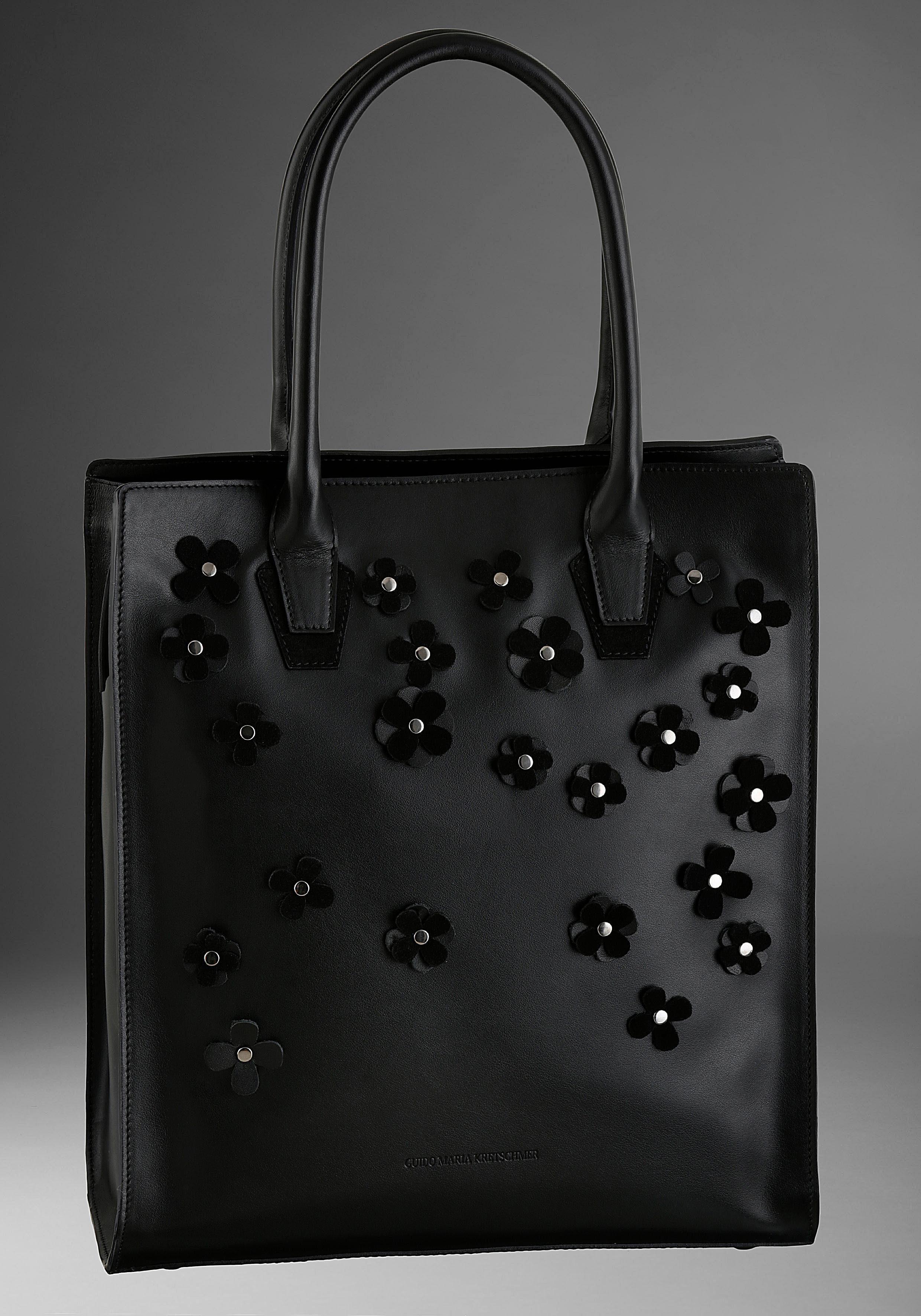GUIDO MARIA KRETSCHMER Shopper, aus Leder mit Blütenapplikation und erweiterbarem Volumen