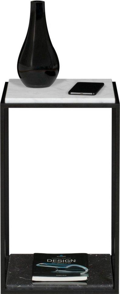 TemaHome Nachttisch »Forrest« mit 2 Marquina Marmorplatten & Metallgestell schwarz, Breite 30 cm   Schlafzimmer > Nachttische   Weiß   TemaHome