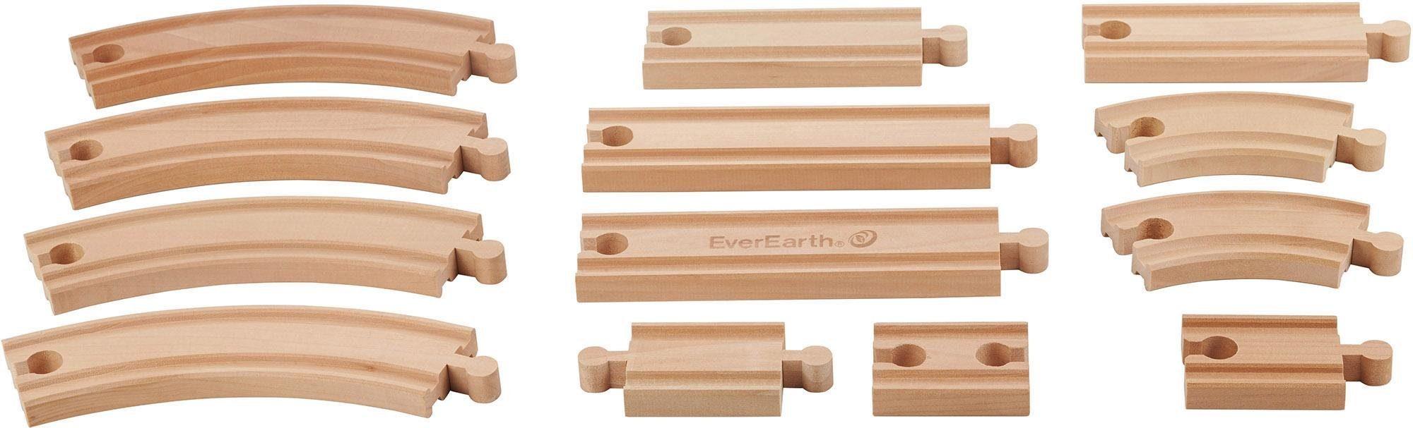 EverEarth® Holzschienenset, 13-tlg., »Eisenbahnschienen«