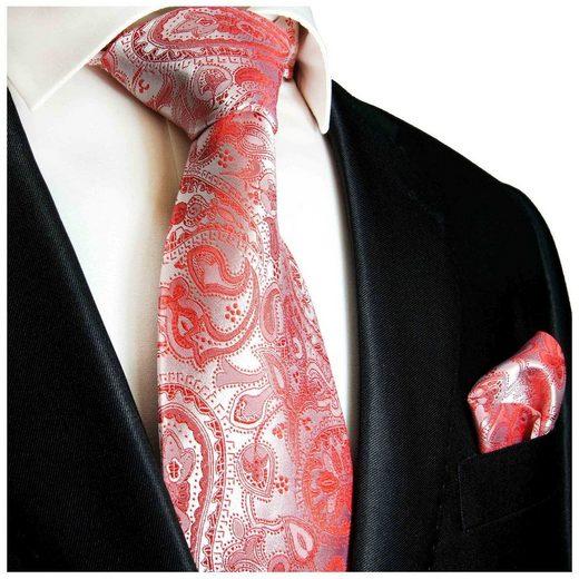 Paul Malone Krawatte »Herren Seidenkrawatte mit Tuch Hochzeit festlich paisley 100% Seide« (Set, 2-St., Krawatte mit Einstecktuch) Schmal (6cm), rot silber 338
