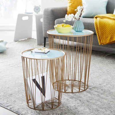 FINEBUY Satztisch »FB23997«, Design Beistelltisch 2er Set Korbtisch Blau / Gold Rund Wohnzimmertisch Modern mit Stauraum Couchtisch Sofatisch 2-teilig mit abnehmbaren Tablett