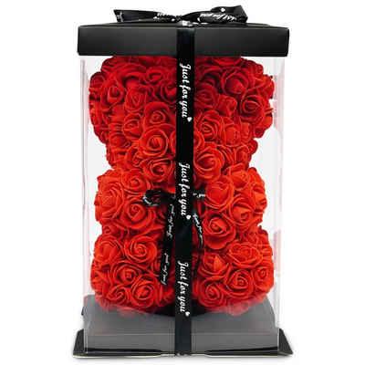 Kunstblume »TRIPLE K Teddybär aus Rosen - Geburtstag, Valentinstag, Hochzeitstag - 3 Jahre haltbar - mit Rosenduft - inkl. Grußkarte und Geschenkbox«, TRIPLE K