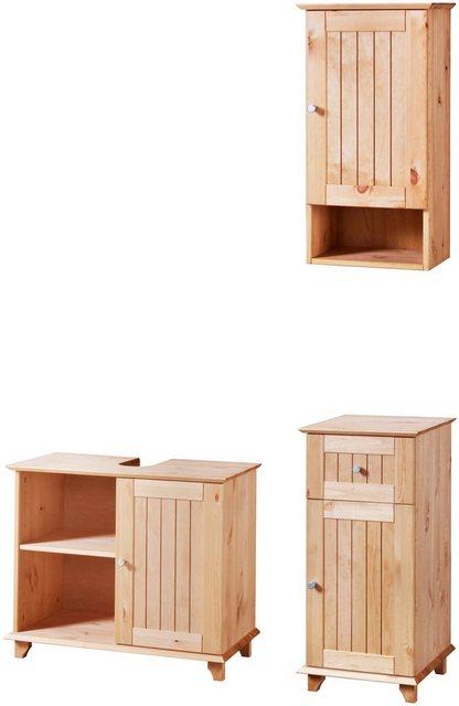 Badezimmer Sets - welltime Badmöbel Set »Venezia Landhaus«, (3 tlg), Badmöbel Set aus massivem Kiefernholz  - Onlineshop OTTO
