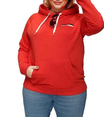 Lee® Sweater »Lee Hoodie auffälliger Damen Kapuzen-Pullover mit Känguru-Tasche Freizeit-Sweater Rot«