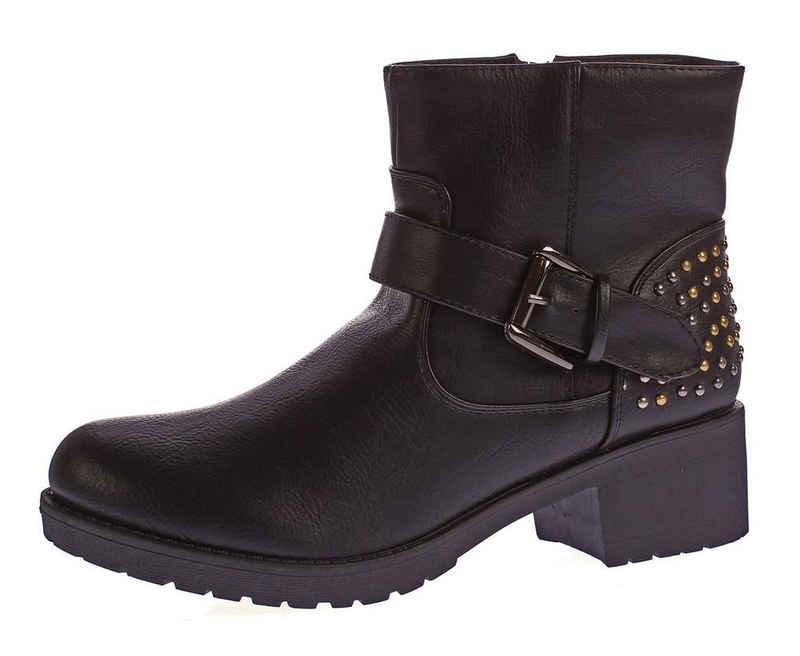 Scandi »Leder Stiefeletten Block Abs Boots Knöchel Schuhe« Stiefelette kalt gefüttert, verschiedenfarbige Nieten, Zierschnalle