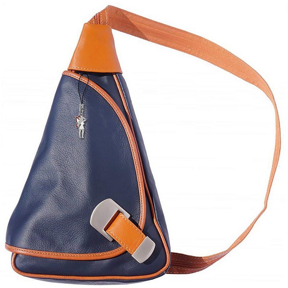 florence -  Cityrucksack »OTF600X  Damen Rucksack Schultertasche«, Damen Rucksack, Tasche, Echtleder blau, braun