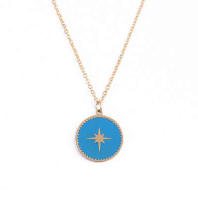 ANELY Kette und Anhänger Set »2975«, Nordstern Medaillon Halskette aus Edelstahl