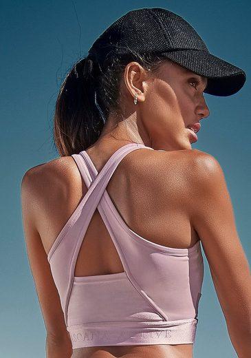 LASCANA ACTIVE Crop-Top mit glänzendem Bundabschluss und Logoschriftzug