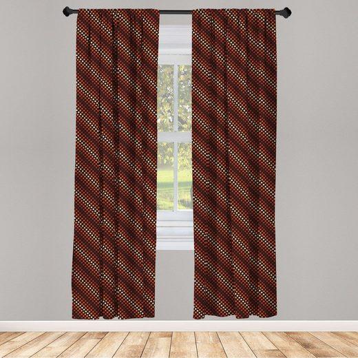 Gardine »Fensterbehandlungen 2 Panel Set für Wohnzimmer Schlafzimmer Dekor«, Abakuhaus, Retro Nostalgische Tupfen Funk