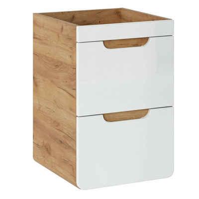 Lomadox Waschbeckenunterschrank »LUTON-56« Waschtischunterschrank 40cm in Hochglanz weiß mit Wotaneiche, ohne Becken, B/H/T ca. 40/59/41 cm