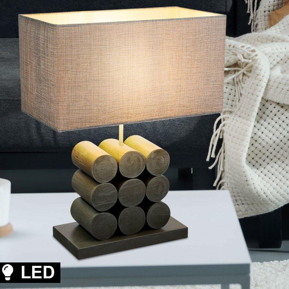 etc shop Tischleuchte, Lese Lampe Nacht Schreib Tisch Leuchte Holz Textil  eckig Schlaf Zimmer Beleuchtung im Set inkl. LED Leuchtmittel online kaufen  ...