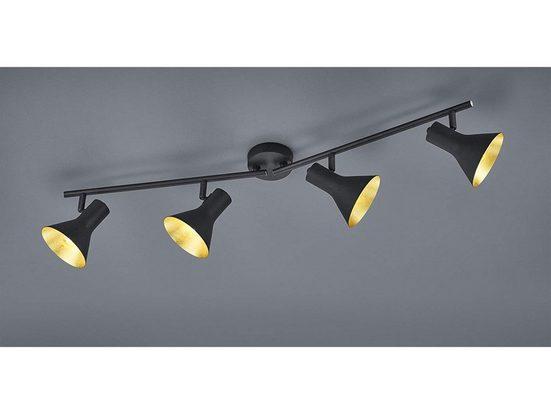 TRIO LED Deckenstrahler, dimmbarer Licht-Spot Strahler rund vierflammig Retro Decken-Strahler Industrie-Design schwenkbar