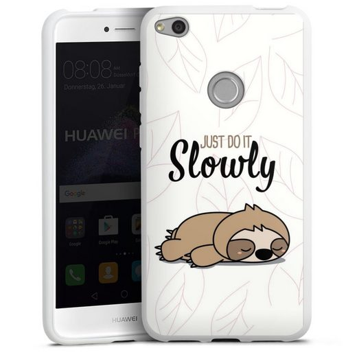 DeinDesign Handyhülle »Just do it slowly Sloth« Huawei P8 Lite (2017), Hülle Tiere Faultier lazy sunday